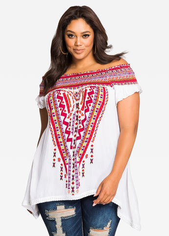 Tribal Print Off-Shoulder Smocked Top