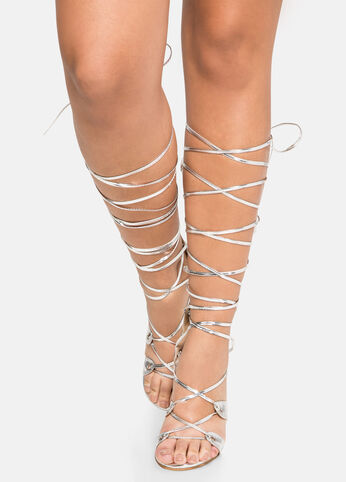 Strappy Gladiator - Wide Calf, Wide Width Silver - Shoes