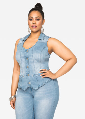 Hi-Lo Jean Vest - Light Wash