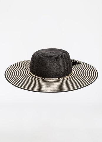 Stripe Brim Floppy Hat with Chain