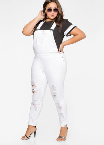 Destructed Skinny Jean Overall White - Clearance