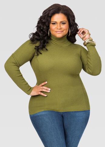 Basic Ribbed Turtleneck Sweater