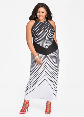 Mixed Media Stripe Halter Dress Black White - Dresses