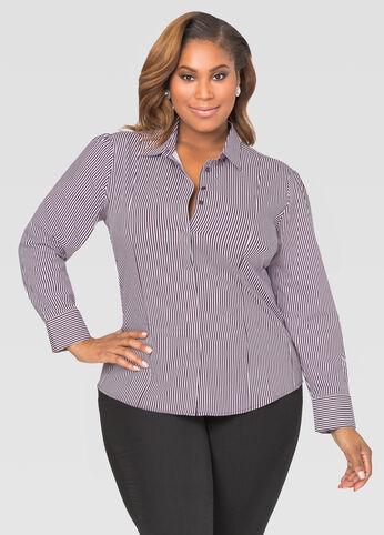 Striped Multi Seam Button Front Shirt