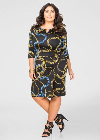 Ruched Chain Print Dress