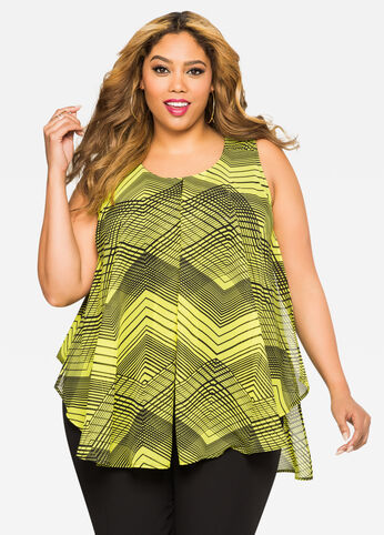 Geo Print Flyaway Top Mandalay Lime - Tops