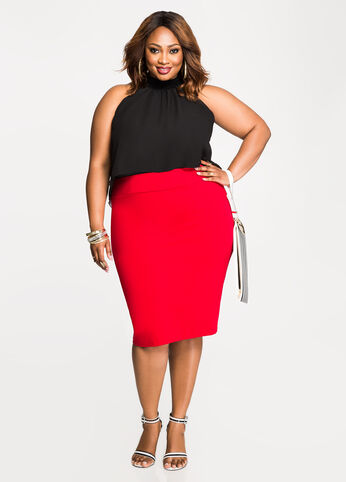 Slit Back Pencil Skirt Barbados Cherry - Bottoms
