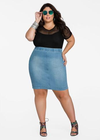 Pull On Denim Skirt - Light Blue