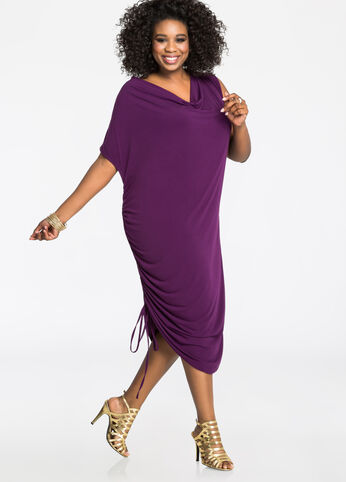 Solid Drape Neck Ruched Side Dress