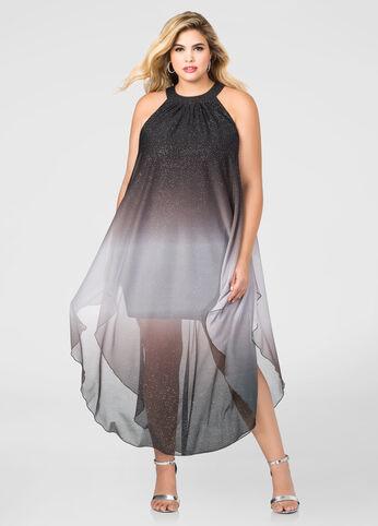 Glitter Ombre Chiffon Maxi Dress