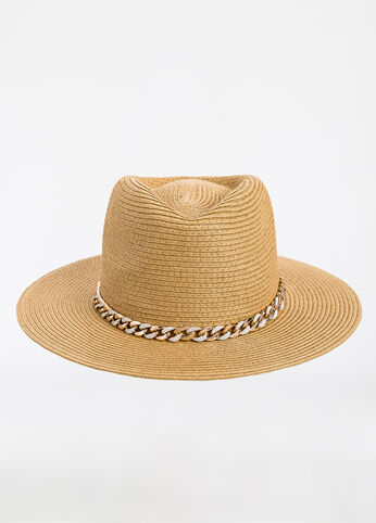 Woven Panama Hat with Chain Natural - Accessories