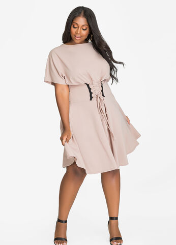 Corset Waist Blouson Skater Dress
