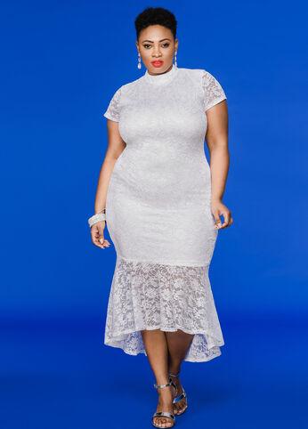 Hi-Lo Lace Mermaid Maxi Dress