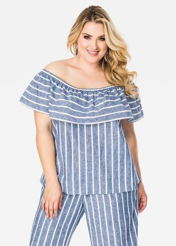 Striped Linen Off-Shoulder Top