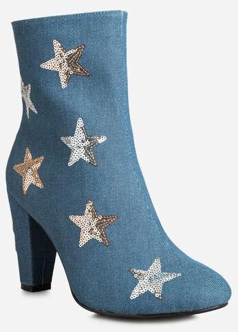 Sequin Stars Denim Bootie - Wide Width - Shoes