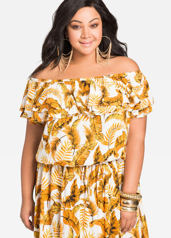 Tropical Print Ruffle Off-Shoulder Top