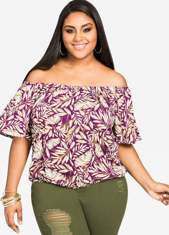 Tropical Print Bubble Top Plum - Tops