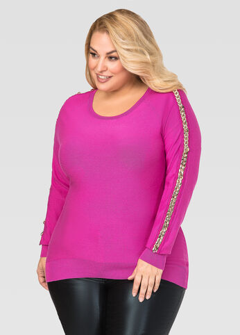 Chain Link Sleeve Sweater