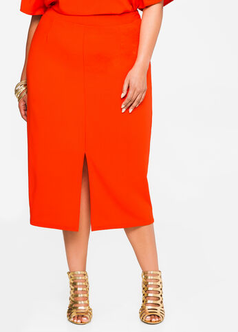 Double Slit Crepe Skirt Orange.Com - Bottoms