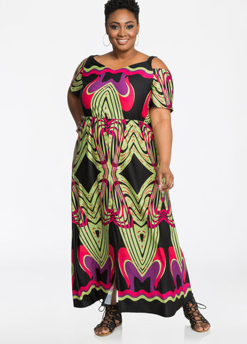 Split Front Cold Shoulder Print Maxi Dress