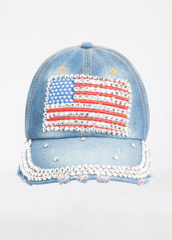 Rhinestone American Flag Hat