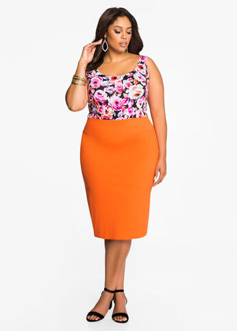Slit Back Pencil Skirt