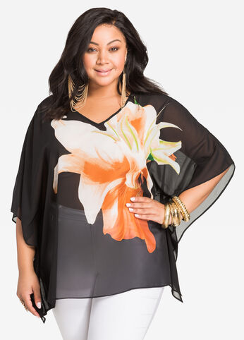 Sheer Floral Graphic Poncho Top
