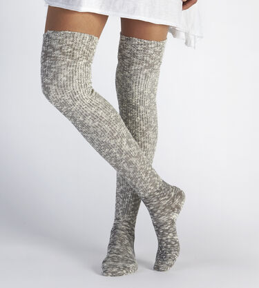 Slouchy Slub Thigh High Sock