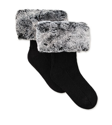 Faux Fur Short Rain Boot Sock