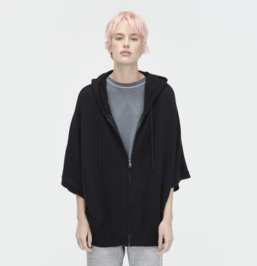 Sweater Knit Zip-Up Poncho