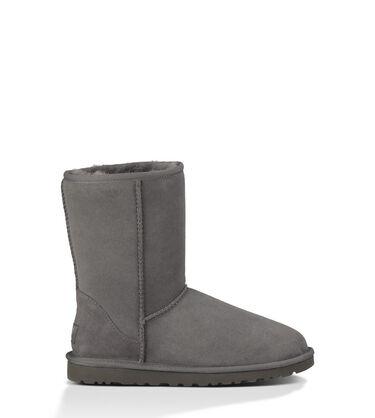 Women's Grey Classic Short Boot Side View
