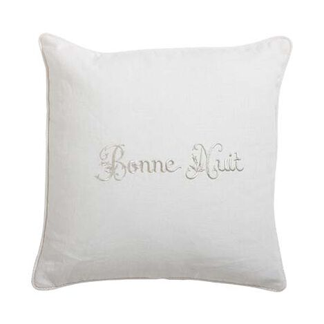 """Bonne Nuit"" Embroidered Linen Pillow ,  , large"
