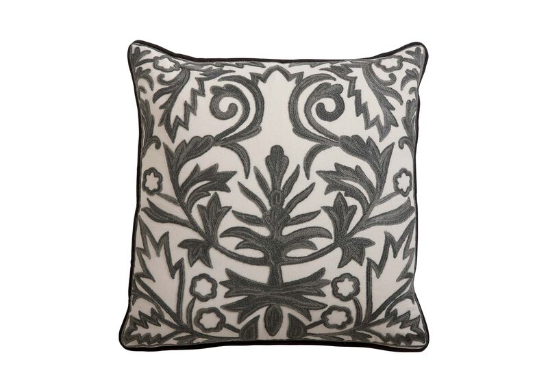 Crewel Embroidered Fern Trellis Pillow ,  , large_gray