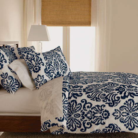 Embroidered Full/Queen Linen Damask Duvet Cover, Navy ,  , large