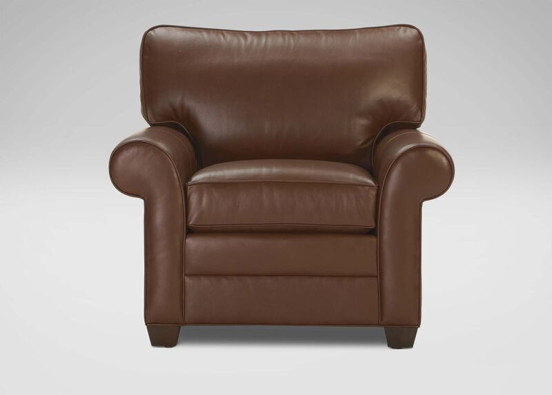 Bennett Roll-Arm Leather Chair ,  , large_gray