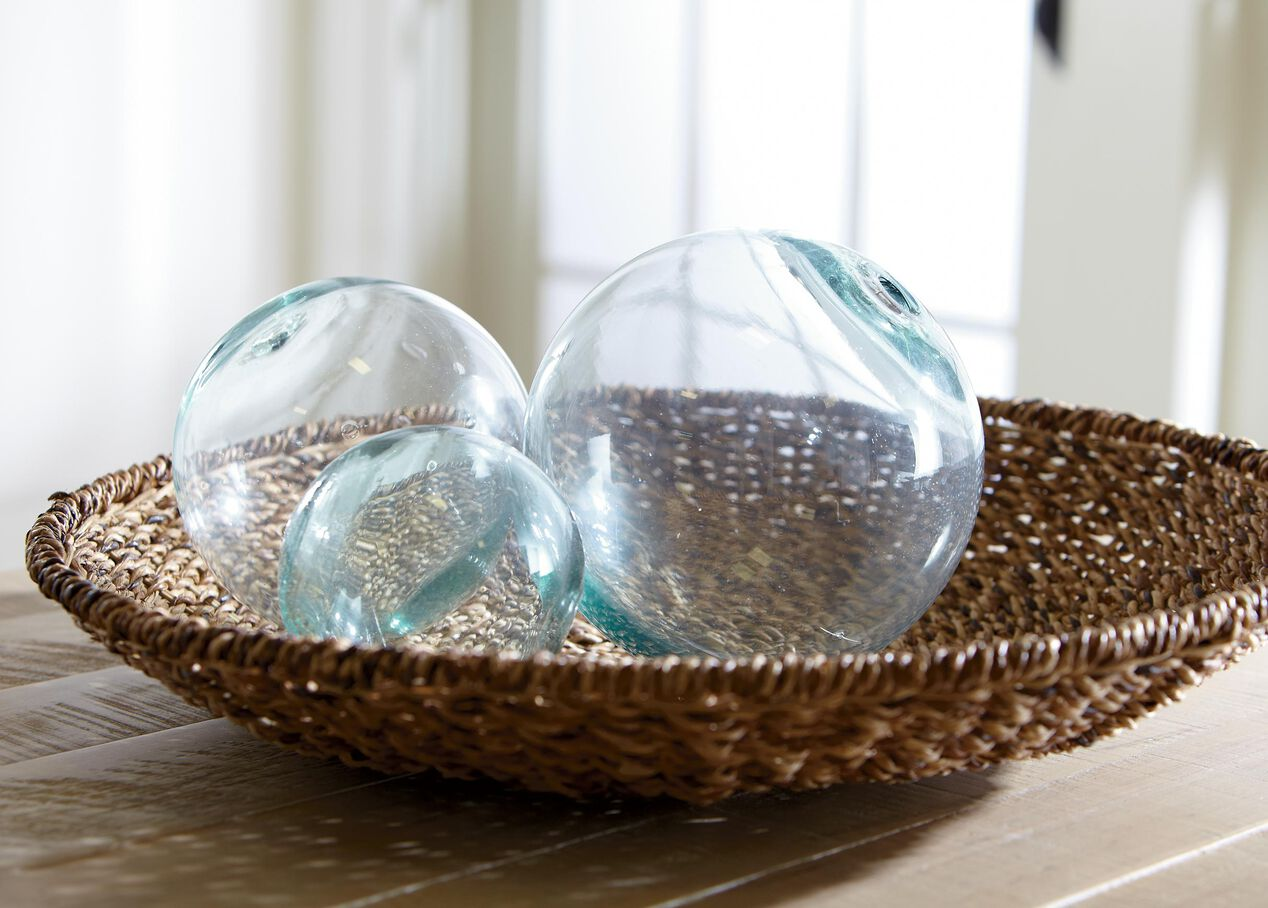 Large glass ball decorative objects
