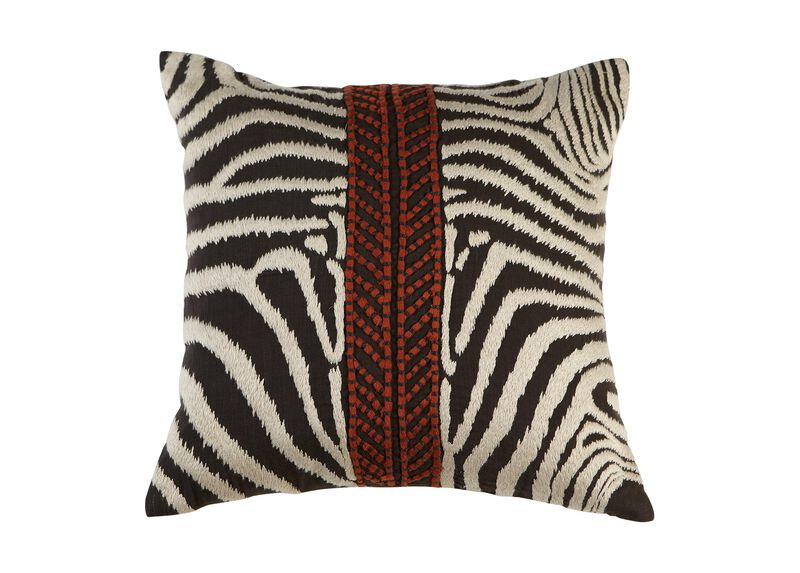 Modern Banded Zebra Pillow ,  , large_gray