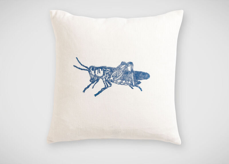 Block-Printed Blue Grasshopper Pillow ,  , large_gray