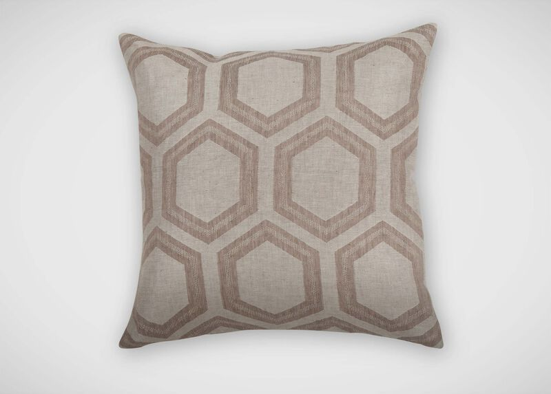 Geometric Linen Pillow, Taupe Pillows & Throws