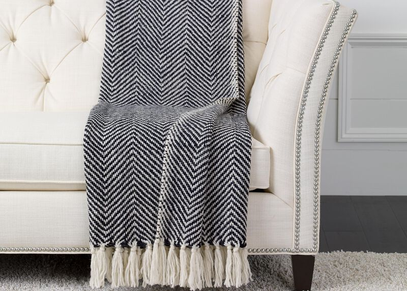 Herringbone Knit Throw,  Black/White ,  , large_gray
