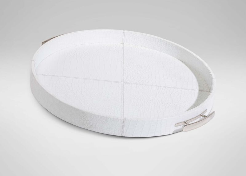 Round White Leather Tray ,  , large_gray