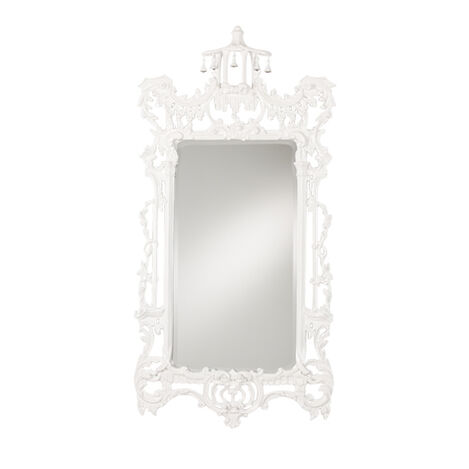 Gloss White Chinoiserie Mirror ,  , large