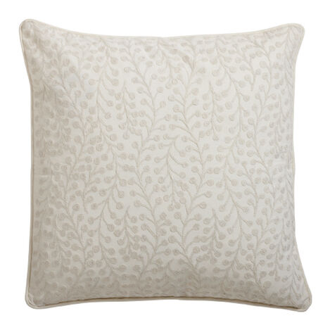Crewel Embroidered Branch Pillow, Ivory ,  , large