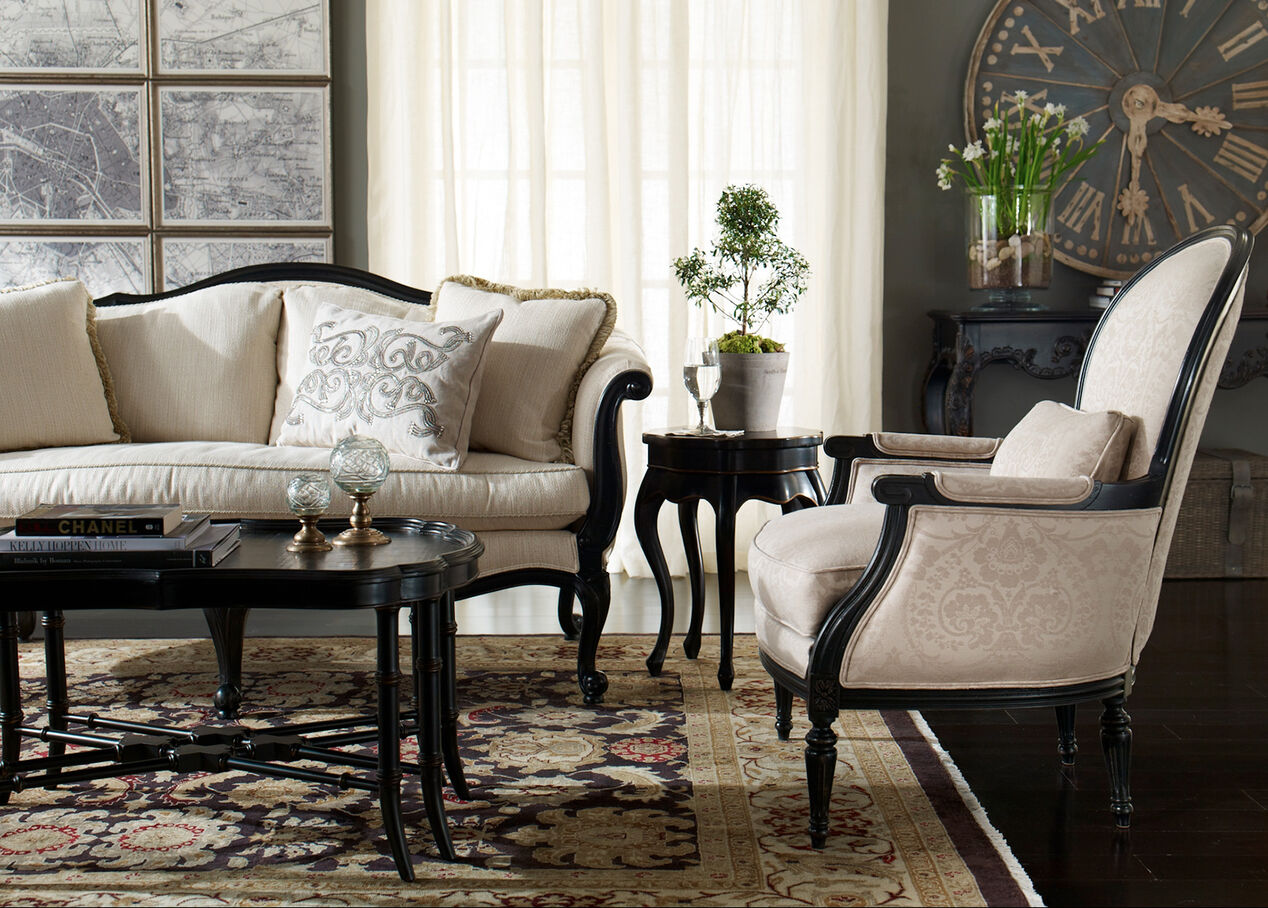 Black five leg table accent tables for Ethan allen furniture