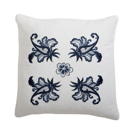 Blue and White Floral Embroidered Linen Pillow ,  , large