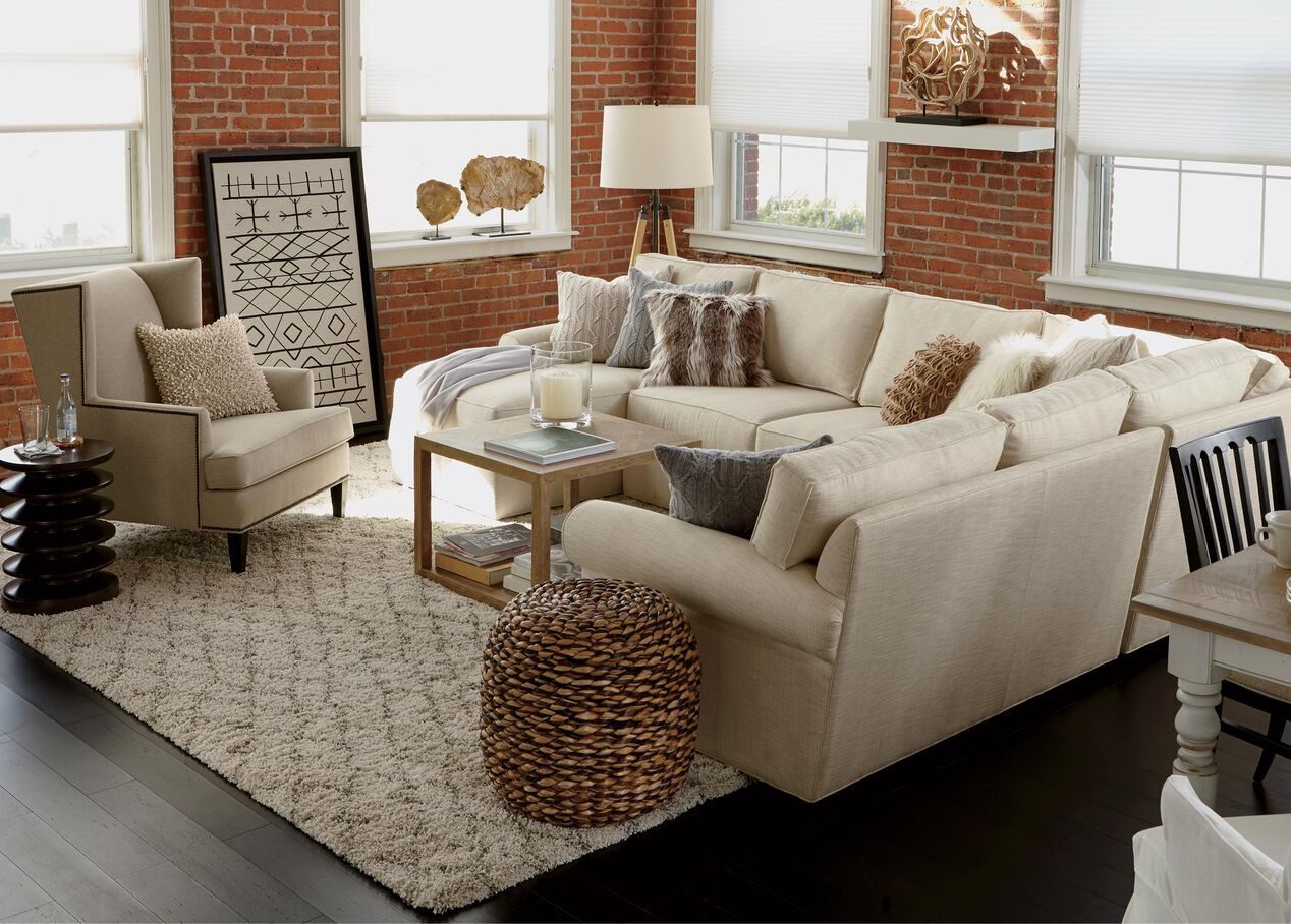 Living Room Sectionals With Chaise Retreat Roll Arm Sectional With Chaise Sectionals