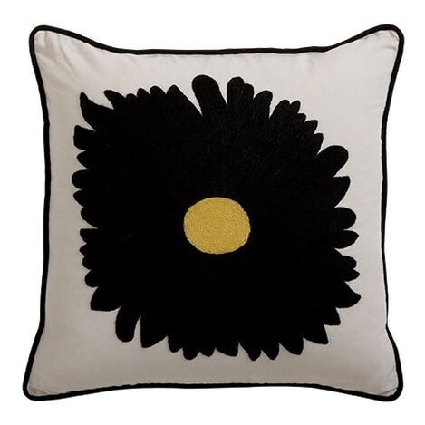 Black Gerber Daisy Crewel Pillow ,  , large