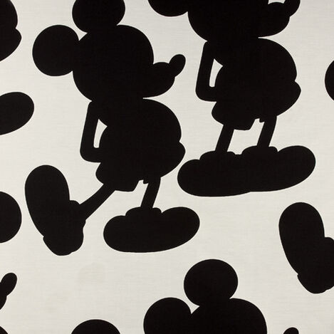 Mr Mouse Mickey's Ears Black Fabric Swatch ,  , large
