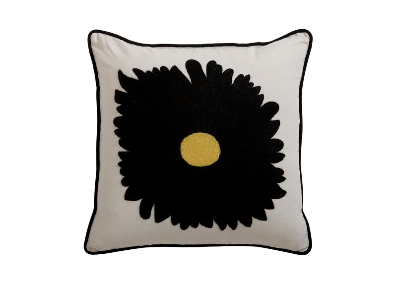 Black Gerber Daisy Crewel Pillow ,  , large_gray