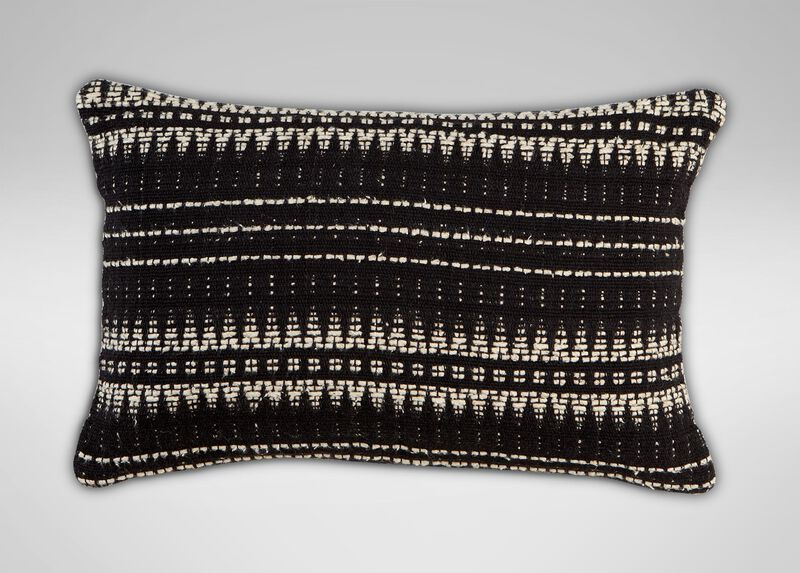 "12"" x 20"" Black and Ivory Woven Silk Pillow ,  , large_gray"